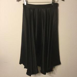 Made in Italy Black Silk Flared Skirt